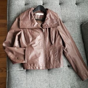 Brown Kenneth Cole Genuine Leather Jacket Size M